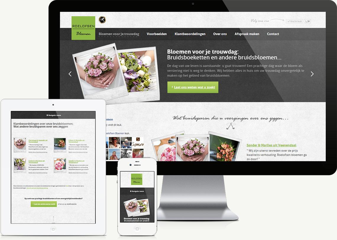 Bloemen voor je trouwdag responsive website ontwikkeling