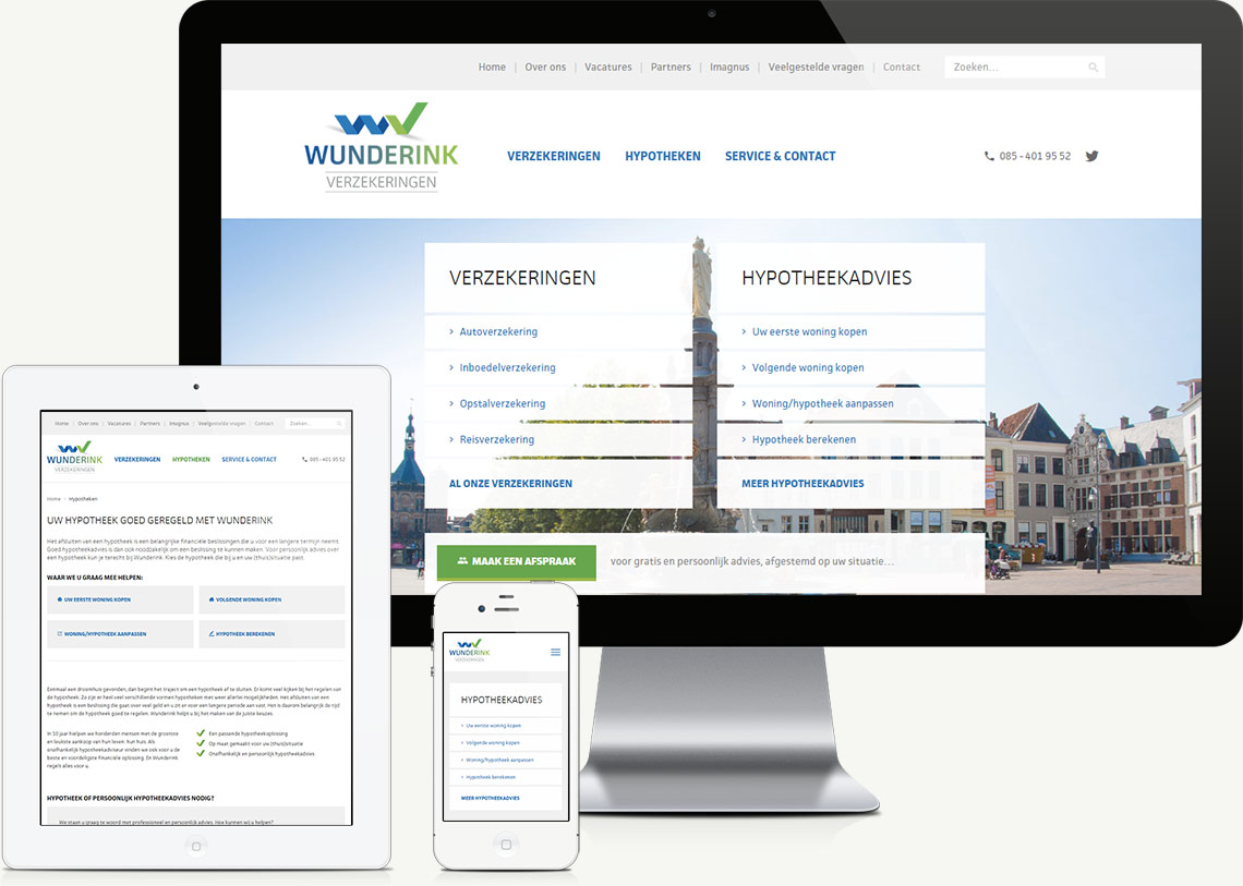 Wunderink Verzekeringen website